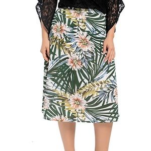 Plus Size Floral Print Flattering Flared Skirt